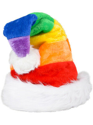 Christmas Rainbow Plush Faux Fur Trim Santa Hat Costume Accessory - Plush Santa Hats