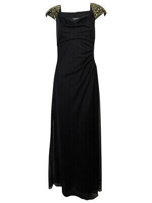 Alex Evenings Women's Beaded Cap Sleeve Full Length Dress (8, Black) Full Sleeved Beaded Jacket