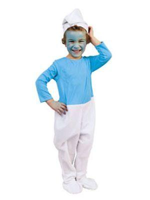 Kostüm für Kinder Schlumpf mit Mütze Fasching Karneval ()
