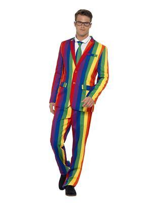 Smi - Herren Kostüm Regenbogen Anzug Karneval Fasching (Regen Anzug Kostüm)
