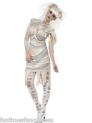 Damen Halloween weiblich Mumie Kostüm Kleid & Haare Klamotten Kostüm 3 Größen