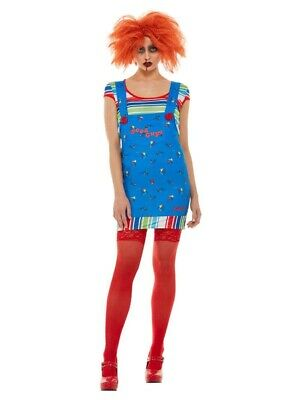 Adult Chucky Costume Ladies Killer Doll Halloween Horror Fancy Dress Outfit Xsml