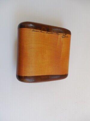 "VINTAGE AUSTRALIAN BURDEKIN PLUM WOOD BOX SIGNED 4"" X 4 1/4"""