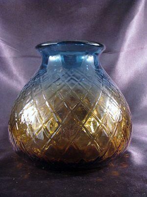 Large Rare Bluerina Mold Blown Art Glass Vase Diamond Pattern Polished Pontil