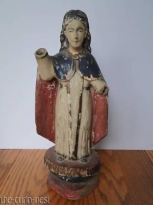 Antique Colonial Spanish SANTOS Hand Carved Wood Polychrome Folk Art Saint