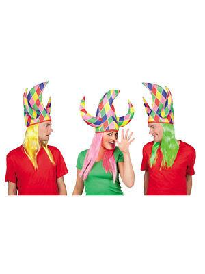 er mit Haar neon Harlekin Karneval (Jester Hut)