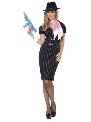 Smiffys Gangster Moll Mafia Mobster Erwachsene Damen Halloween Kostüm 23697