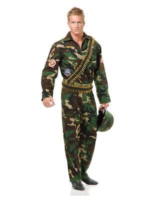 Adult Men's Top Gun Camouflage Fighter Pilot Jumpsuit Costume
