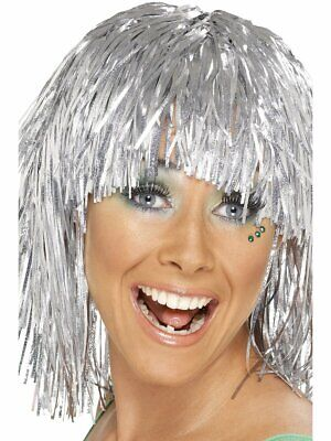 SILVER Tinsel Wig Rocker Hair Womens Adult Ladies Bright Metallic Costume Bangs  (Hair Metal Wigs)