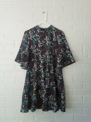 Zara Floral Dress Flare Half-Sleeve 8049/153 Woodland Flower large L EUC Multi