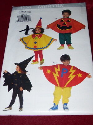 🌹 BUTTERICK #3658 - EASY TODDLERS CLOWN-PUMPKIN-WITCH COSTUME PATTERN 1-4 FF