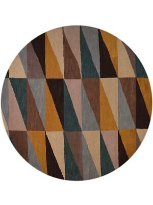 Geometric Hand-Tufted Modern Round 10x10 Gabbeh Oriental Area Rug Wool Carpet ()
