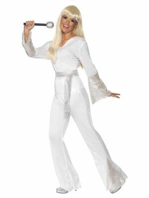 SMIFFY 22170 70er Jahre Disco Lady Musik Star Karneval Damen Kostüm weiß - Abba Kostüm Damen