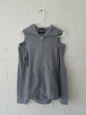 MONROW Designer $128 Open Back Zip Up cold Shoulder Hooded Sweatshirt XS Back Zip Sweatshirt