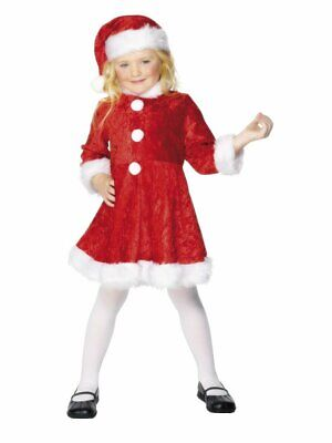 Mini Miss Santa Costume Girls Christmas Elf Mrs. Claus Fancy Dress Small](Santa Costumes For Girls)