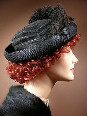 Vintage Antique Edwardian Asymmetrical Black Straw Horsehair Hat Ostrich Feather