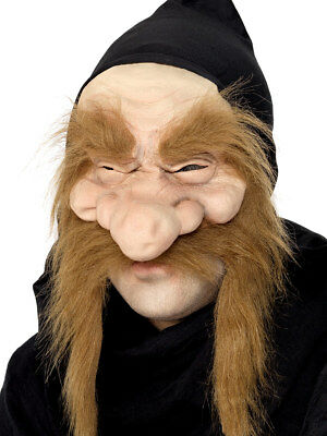 Gold Bagger Maske Alter Mann Halbes Gesicht Goblin Zwerg Halloween Kostüm Neu