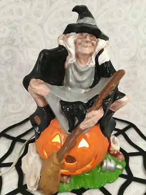 Vtg Light Up Byron Mold Ceramic Witch Black Cat Pumpkin Jack O Lantern Lamp
