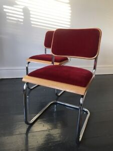 Pair of Red velvet Breuer Cesca chairs