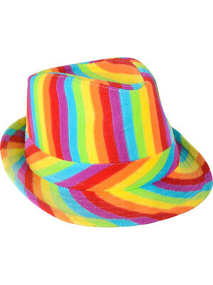 Clown Hats (Adults Rainbow Pride Gangster Clown Fedora Hat Cap Costume)