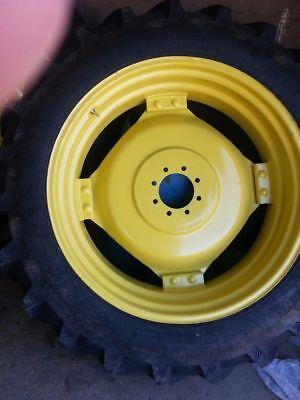 Two 15.5x38 Ih Farmall Deere R 1 Bar Lug Tractor Tires On 8 On 8 Wheels