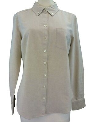 Tan Womens Oxford (New Womens Tommy Bahama Cotton Oxford Tan Shirt 2 4 Long Sleeve Button Front)