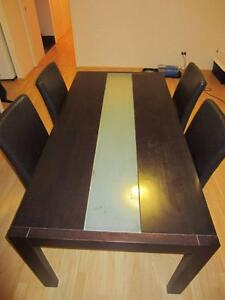 Dining Table with 4 chairs and Tempered Glass Centre Mandurah Mandurah Area Preview
