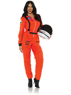 Female Astronaut Costume (Women's Orange Astronaut Female Cut Jumpsuit Costume X-Large)