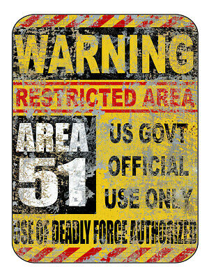 Area 51 Halloween (Area 51 Metal Warning Sign 9x12 / UFO Aliens Halloween No Trespassing USA)