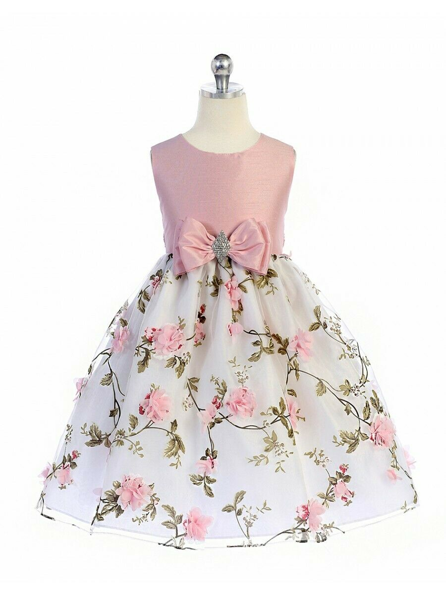 Posh Silver//Pink Floral Embroidered Flower Girl Holiday Dress Crayon Kids USA