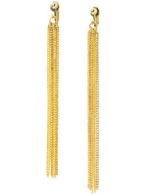 Adults Womens 70s Disco Fever Gold Chain Disco Earrings Costume Accessory