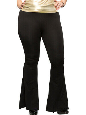 Women's Black 70s Flared Boogie Disco Pants Costume 1X Plus Size16 - Plus Size 70s Costumes