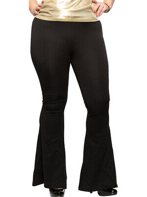Women's Black 70s Flared Boogie Disco Pants Costume 1X Plus Size16](Plus Size Disco Costume)