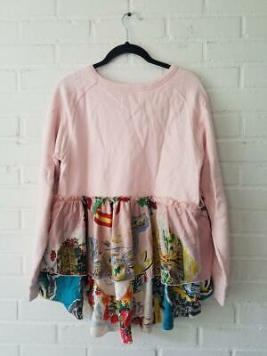 GO TO HOLLYWOOD Designer Pink Sweatshirt Tropical Print Layered M 2 $148