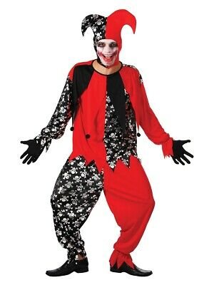 Mens Evil Jester Circus Clown Red black fancy dress costume Halloween outfit - Red Jester Kostüm