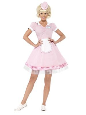 Women's Pink 1950's USA Diner Girl Fancy Dress Costume Hen Night Drive-Thru Fun  - 1950s Diner Costume