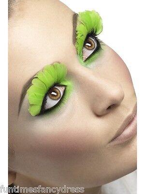 Butterfly Eyelashes Halloween (Halloween Neon Lime Feather Lashes Flower Fairy Butterfly Eyelashes Fancy Dress)