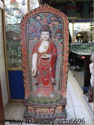 Chinese Han Bai Jade White Marble Painted Sakyamuni Tathagata Amitabha Buddha ST