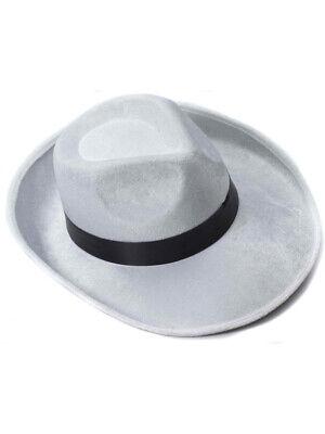 White And Black Velvet Gangster Costume Fedora Hat - White Gangster Costume