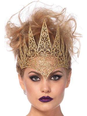 Princess Crown Costume (Adults Royal Queen Princess Medieval Gold Die Cut Crown Costume)