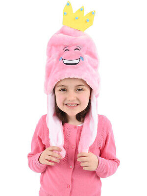 Child's Pink Princess Tear Laughing Emoji Emoticon Pom Pom Hat Costume Accessory