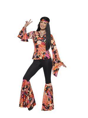 Smi - Damen Kostüm 60er Jahre Hippie Karneval Fasching (60er Jahre Kostüme)