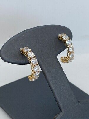 Cubic Zirconia 14K Yellow Gold16 Stone Hoop Earrings 3.1g (GEP007205)