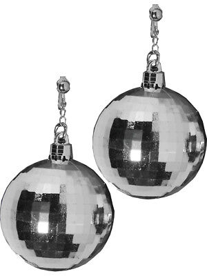 Womens 70s Disco Fever Disco Ball Silver Earrings Costume Accessory - Disco Ball Costumes