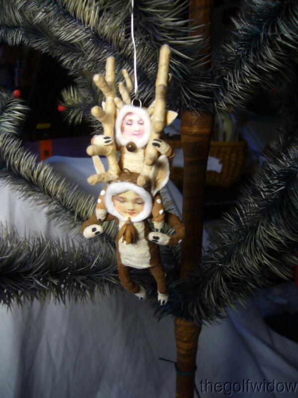 Vintage Inspired Spun Cotton Piggy Back Reindeer Christmas Ornament no. E21