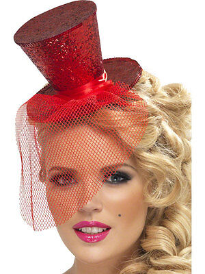 Mini Red Top Hat Mad Hatter Costume Flapper Feather Womens Adult Fancy Dress - Mad Hatter Mini Hat