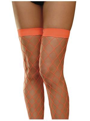 Neon Diamond Fishnet Hold Ups Stockings and Gloves Rave 80s Green Orange Yellow](Green And Yellow Gloves)