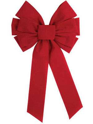 - Large Red Velvet 10 Loop Christmas Bow Door Wall Fireplace Decoration