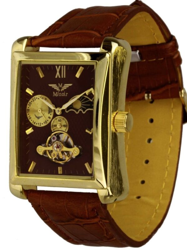 Minoir Uhren Modell Lagoon gold/braun Automatikuhr Herrenuhr