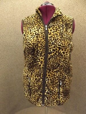 French Laundry NEW Womens Sz 22/24 Brown Black Animal Leopard Print Fleece Vest Brown Leopard Fleece